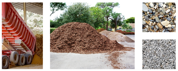 Pile of mulch and rocks