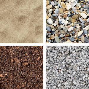 Gravel, sand, mulch and soil